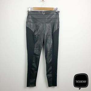 bebe leather contrast high waist pants